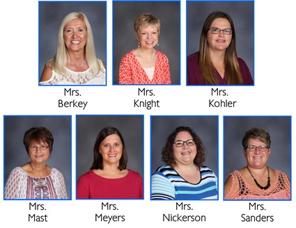 Pictures of Mrs. Berkey, Mrs. Knight, Mrs. Kohler, Mrs. Mast, Mrs. Meyers, Mrs. Nickerson, and Mrs. Sanders