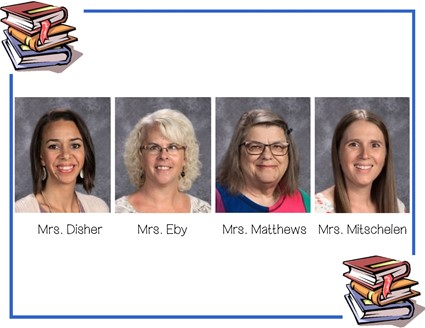 Pictures of Mrs. Disher, Mrs Eby, Mrs. Matthews, and Mrs. Mitschelen