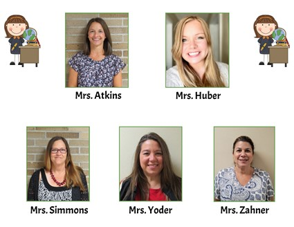 Pictures of Mrs. Atkins, Mrs. Huber, Mrs. Simmons, Mrs. Yoder, and Mrs. Zahner