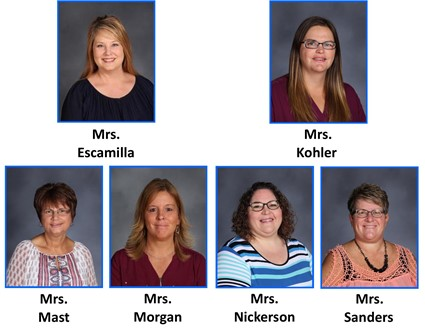 Pictures of Mrs. Escamilla, Mrs. Kohler, Mrs. Mast, Mrs. Morgan, Mrs. Nickerson, and Mrs. Sanders