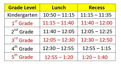 Recess and Lunch Times