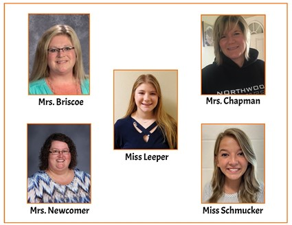 Pictures of Mrs. Briscoe, Mrs. Chapman, Miss Leeper, Mrs. Newcomer, and Miss Schmucker